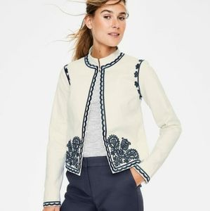 Boden White and Blue Ornate Embroidered Jacket